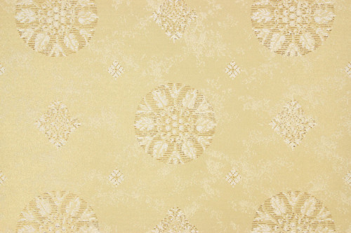 1960s Vintage Wallpaper Gold White Metallic Medallion