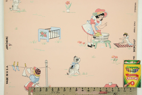 1940s Vintage Wallpaper Childrens Nursery on Pink