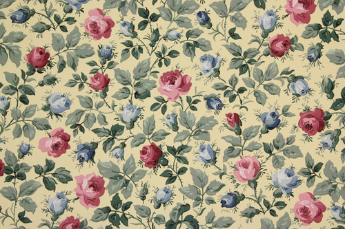 1950s vintage wallpaper pink and blue roses