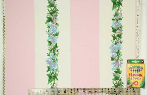 1950s Vintage Wallpaper Lilacs Pink Stripe Made in France