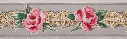Trimz Vintage Wallpaper Border Rose Medallion