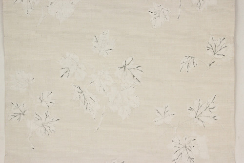 1950s Vintage Wallpaper White and Black Leaves on White