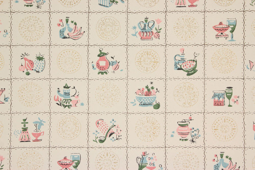 1940s Vintage Wallpaper Pink and Blue Kitchen