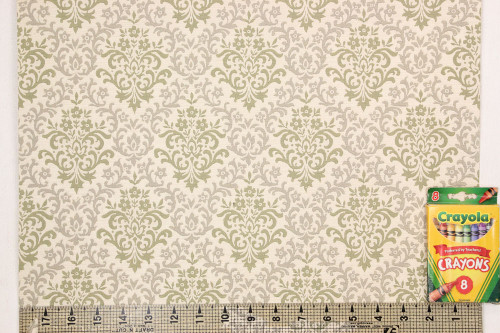 1950s Vintage Wallpaper Green and Gray Damask
