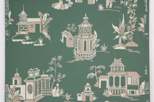 1950s Vintage Wallpaper Green Chinoiserie