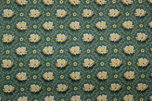 1950s Vintage Wallpaper Small Yellow Flowers on Green