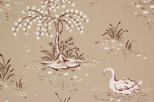 1940s Vintage Wallpaper Swans on Brown