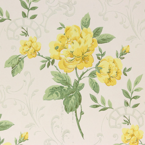 1960s Vintage Wallpaper Yellow Roses