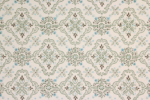 1950s Vintage Wallpaper Blue and Green Geometric