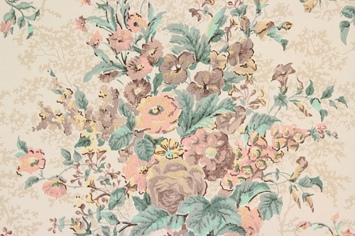 1950s vintage wallpaper large pink brown bouquets