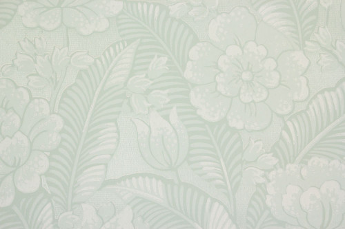 1960s Vintage Wallpaper Large White Flowers on Light Green