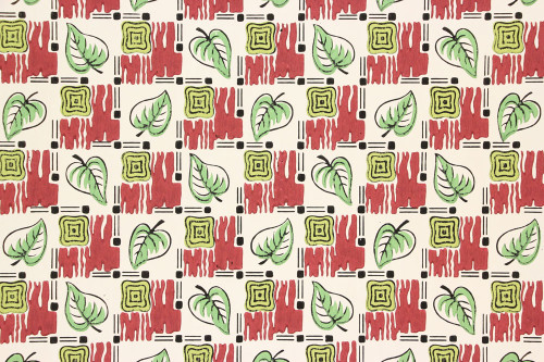 1940s Vintage Wallpaper Green Leaf Geometric