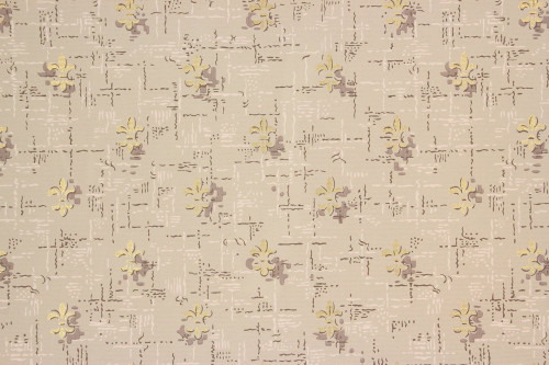 1950s Vintage Wallpaper Fleur-de-lis Gold Metallic