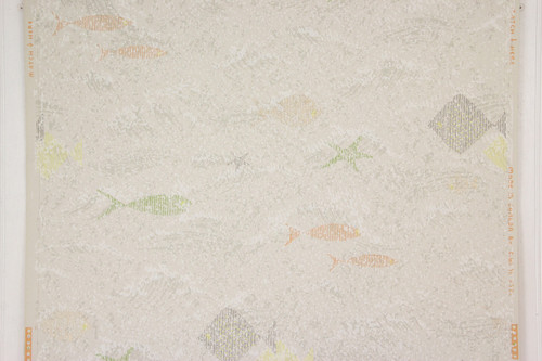1950s Vintage Wallpaper Fish on Gray
