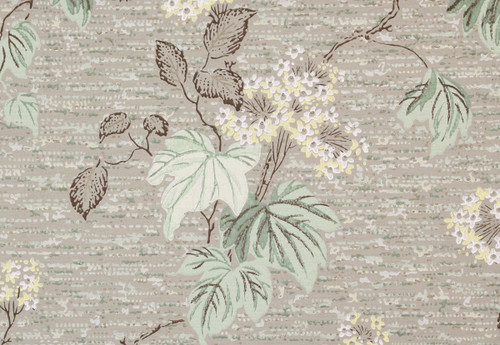 1940s Vintage Wallpaper Yellow Flower Stems on Tweed