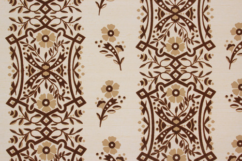 1980s Vintage Wallpaper Brown Flock