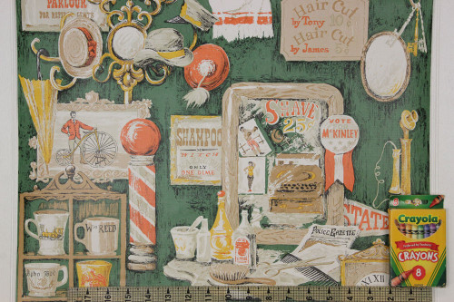 1970s Vintage Wallpaper Barbershop