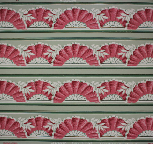 1940s Vintage Wallpaper Border Pink Fan on Green