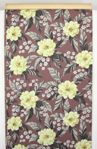 1940s Vintage Wallpaper Yellow Flowers on Brown