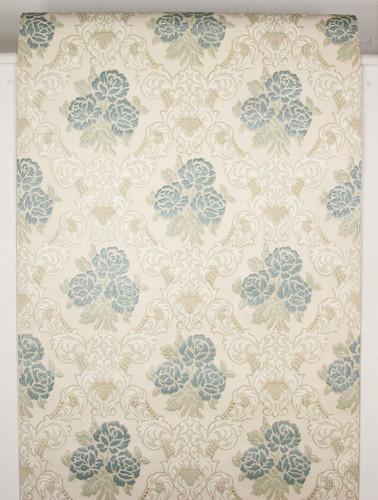 1960s Vintage Wallpaper Embossed Blue Roses