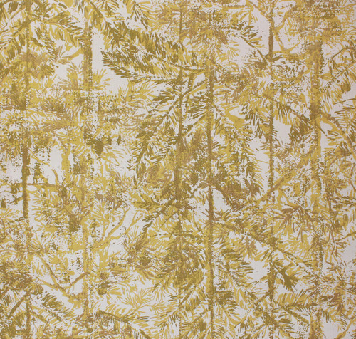 1970s Vintage Wallpaper Yellow and Brown Pine Trees
