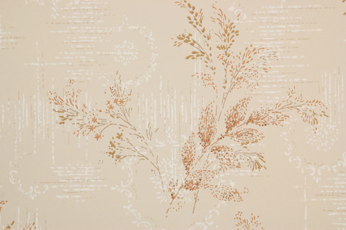 1950s Vintage Wallpaper Brown Leaf Fronds on Beige