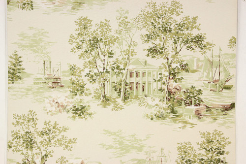 1950s Vintage Wallpaper Scenic Plantation Steamboat