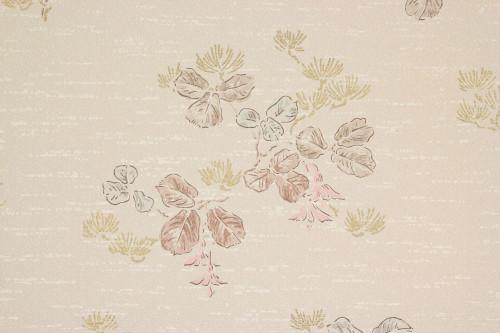 1950s Vintage Wallpaper Leaves Pink Flowers