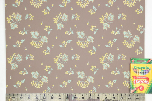 1960s Vintage Wallpaper Yellow Berries on Brown