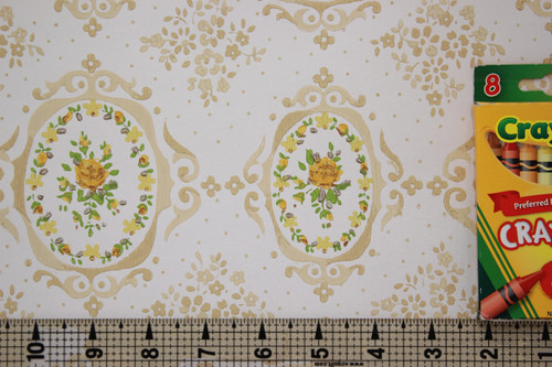 1970s Vintage Wallpaper Yellow Rose Cameo