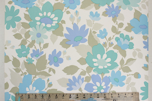 1970s Vintage Wallpaper Retro Blue and Green Flower