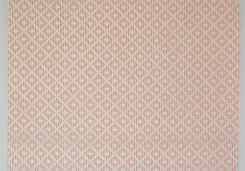 1970s Vintage Wallpaper Pink Diamond Flock on White