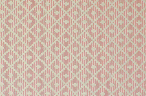 1970s Vintage Wallpaper Pink Diamond Flock on White