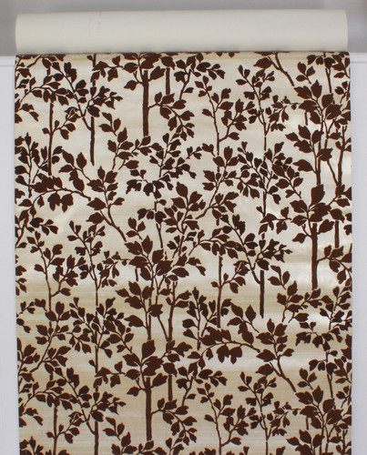 1970s Vintage Wallpaper Brown Flock Leaves Stems