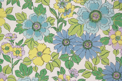 1970s Vintage Wallpaper Retro Blue and Green Flowers