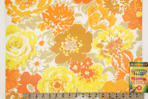 1970s Vintage Wallpaper Retro Brown Orange and Yellow Flowers