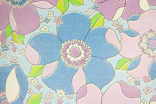 1970s Vintage Wallpaper Retro Large Blue and Purple Flowers