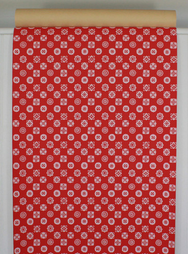 1950s Vintage Wallpaper White Geometric on Red