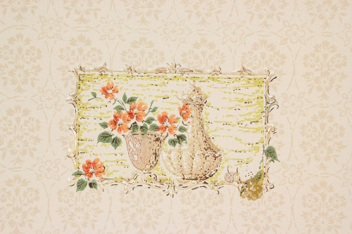 1950s Vintage Wallpaper Flowers Teapots on Beige