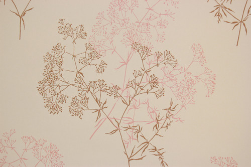 1960s Vintage Wallpaper Pink Brown Flowers on Beige
