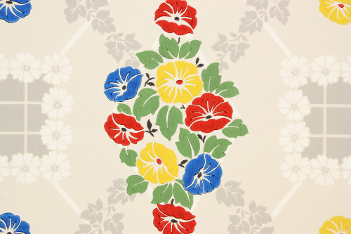 1940s Vintage Wallpaper Morning Glories