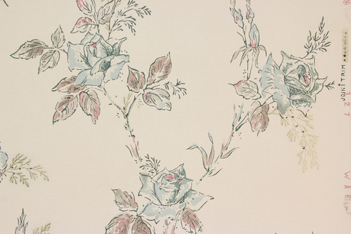 1940s Vintage Wallpaper Blue Roses
