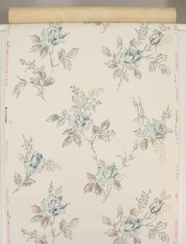 1940s Vintage Wallpaper Blue Roses