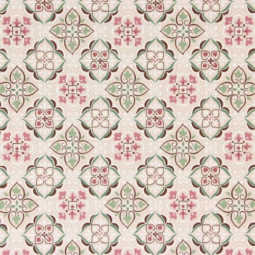 1940s Vintage Wallpaper Pink Green Geometric