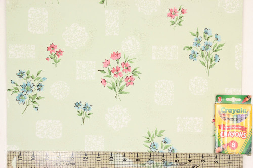 1960s Vintage Wallpaper Pink Blue Flower Bouquets