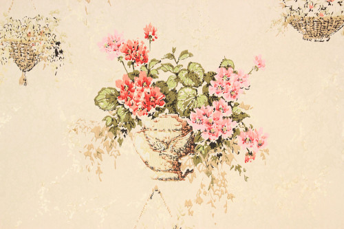1970s Vintage Wallpaper Red Flower Baskets