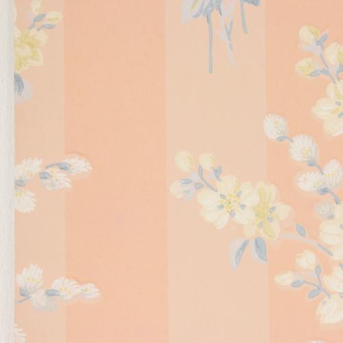 1940s Vintage Wallpaper Yellow White Bouquets on Peach Stripe