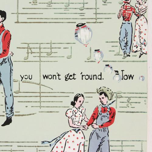 1940s Vintage Wallpaper Square Dance Couple
