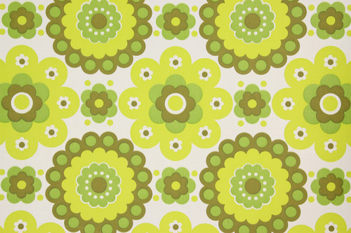 1970s Retro Vintage Wallpaper Green Geometric Vinyl