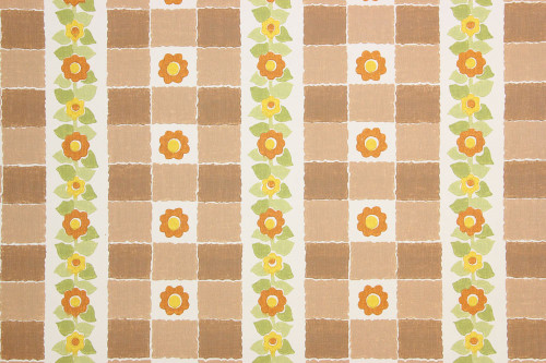 1970s Retro Vintage Wallpaper Orange Yellow Flowers on Brown Vinyl